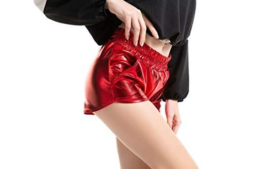 SIMYJOY Homecoming Party Sommer Yoga Sport Tanzen Hot Shorts Metallic Shiny Shorts Mit Elastischer Taille Für Frauen und Mädchen Rot XL
