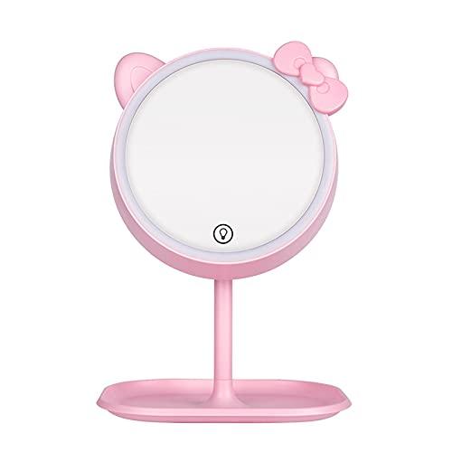 Espejo de Maquillaje Escritorio LED Rotación 90 Grados ABS Aluminio HD 3 Luces Colores Pantalla Táctil Ajustable para Casa