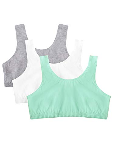 Fruit of the Loom Girls' Big Cotton Built-Up Sport 3 Pack(Pack of 3), Mint chip/White/Grey Heather, 28
