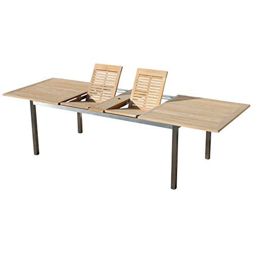 ASS Edelstahl Teak Ausziehtisch 200/240/280x100 cm Gartentisch Holztisch Esstisch Tisch Massive Ausführung A-Grade Teakholz Modell: Kuba