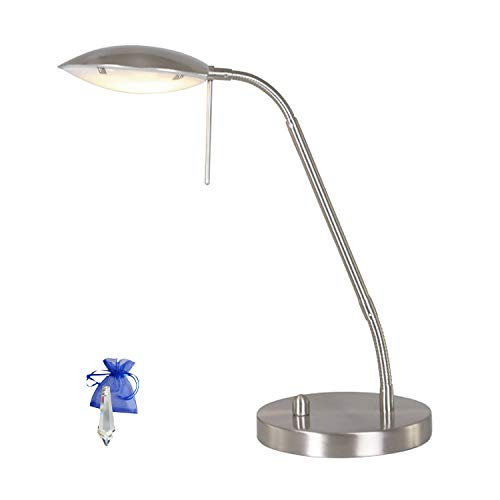 Tafellamp staal geslepen LED tafellamp roestvrij staal 10W warm wit met dimmer bureaulamp 1315ST + Crystal Give Away