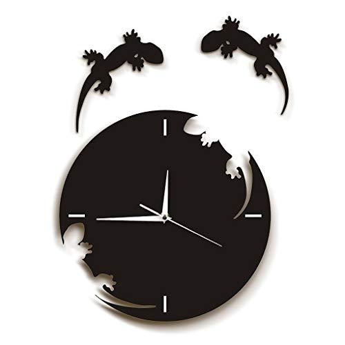 Reloj De Reloj Reloj de pared - pared del arte abstracto de gecos Escape de la Reloj Reloj Gecko Salamandra Lagarto del Gecko silueta del reptil Diseñado reloj de pared de acrílico de 12 pulgadas Negr