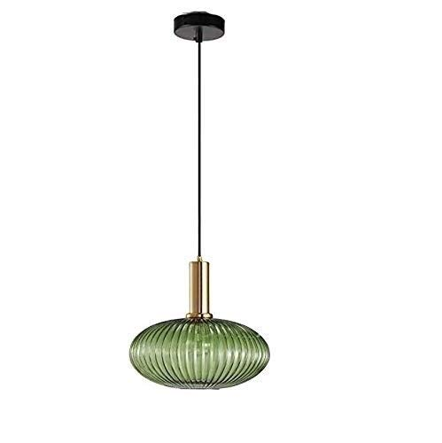 Wlgt Industrial Vintage Large Pendant Lighting Modern Retro Style Drop Ceiling Hanging Lamp Personality Single Head Green Glass Shade with Polished Brass Lamp Holder E27