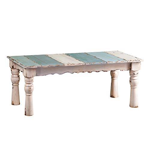 French Country Weathered Wood Table - Solid Wooden Construction - Distressed Finish (Coffee Table)