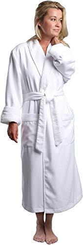 Plush Lined Microfiber Spa Robe - Unisex Luxury Hotel Bathrobe in White/Medium By Monarch/Cypress by Monarch/Cypress