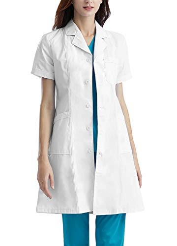 Memoryee Camice da Laboratorio Professionale Unisex Bianco Cotone Uniforme da Laboratorio Mezza Manica da Lavoro per Uomo e donna/Women-Thin/2XL