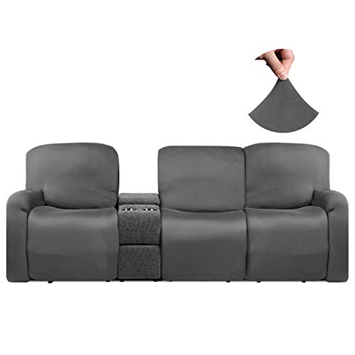 HDCAXKJ Recliner Covers for Large Recliner Stretch Recliner Couch Covers for Reclining Couches Soft Recliner Sofa Cover for 3 Cushion Couch Anti Slip Furniture Protector Slipcover (Gray, Large)