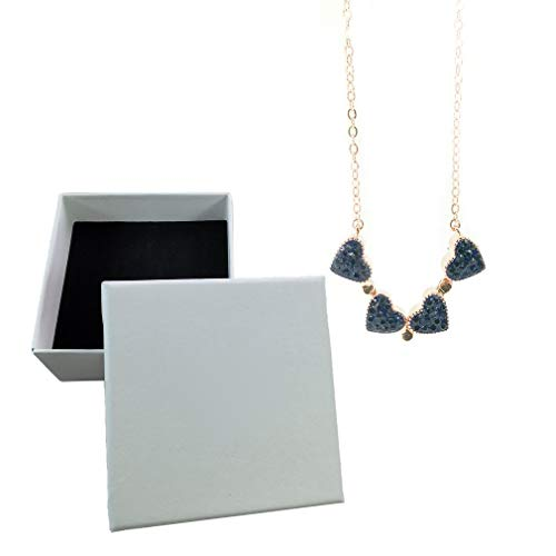 Four Leaf Clover Necklace For Girls And Woman Double Sided Collarbone Necklace(Rose Gold + Red Blue 43cm)