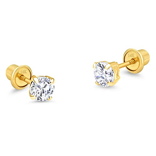 14k Yellow Gold 3mm Basket Round Solitaire Cubic Zirconia Children Screw Back Baby Girls Earrings