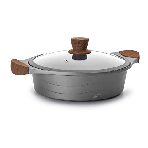 Lacor - 27327 - Cacerola Baja de cocina con tapa cristal Stilo, Compatibilidad: todo tipo de...