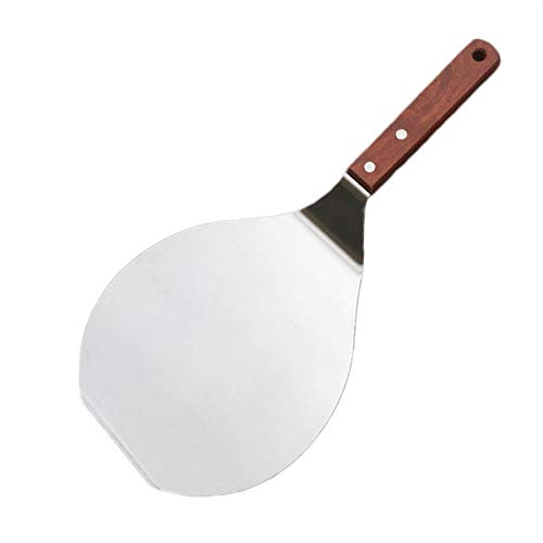 1 pieza de pala de pizza, paleta de pizza, pasta antiadherente, levantador de cocina de acero inoxidable, pala redonda para colgar con agujero para hornear, pala para chef y pizza (tamaño: L)
