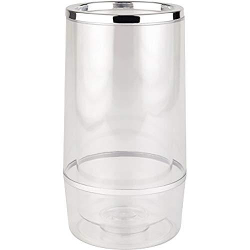 APS 36032 Transparenter Doppelwandiger Flaschenkühler mit Chromrand, Ø 12/10 x 23 cm, Transparent