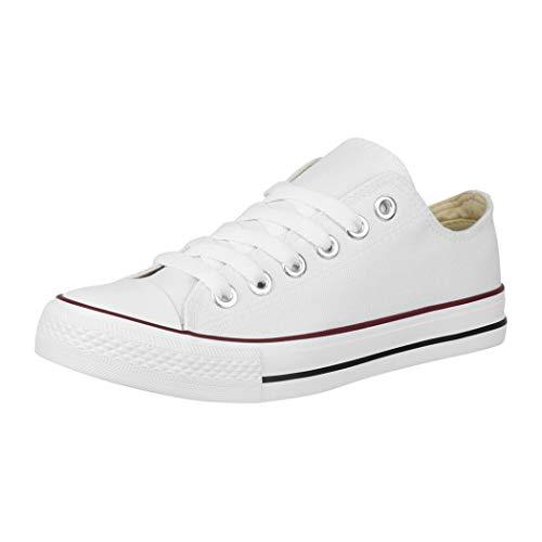 Elara Zapatos de Deporte Unisex Low Top Textil Chunkyrayan Blanco A-YD3230-Weiss-36