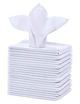 Cieltown Polyester Cloth Napkins 1-Dozen Solid Washable Fabric Napkins Set of 12 Perfect for Weddings Parties Holiday Dinner  17 x 17-Inch White