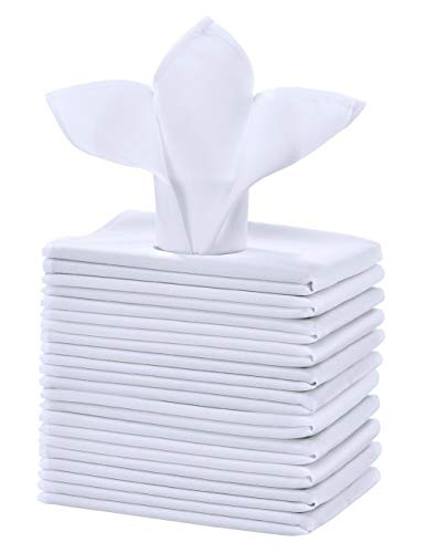 Cieltown Polyester Cloth Napkins 1-Dozen, Solid Washable Fabric Napkins Set of 12, Perfect for Weddings, Parties, Holiday Dinner (17 x 17-Inch, White)