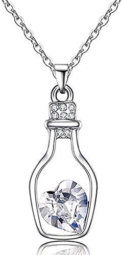 NONGYEYH co.,ltd Collar Collar Cristal Corazón Botella Colgante Collar para Mujer Accesorios Gargantilla Cadena Colgante Collar para Mujer para Mujer