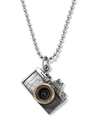 XIRENZHANG Collar de plata de ley S925 con colgante de cámara de...