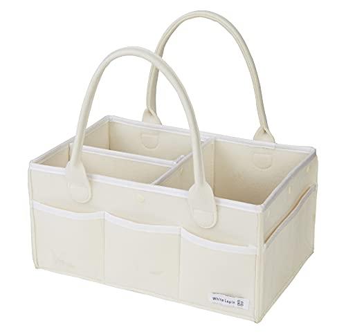 [WhiteLapin株式会社] オムツストッカー おむつストッカー 収納ケース おもちゃ入れ収納 (ホワイト, プレゼント用BOX無)