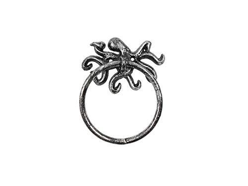 "Beach Li Sea Decoration Home Rustic Silver Cast Iron Octopus Towel Holder 6/"""