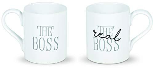 Enesco 6005717 Our Name is Mud Wedding The Real Boss - Juego de tazas de café (cerámica), multicolor