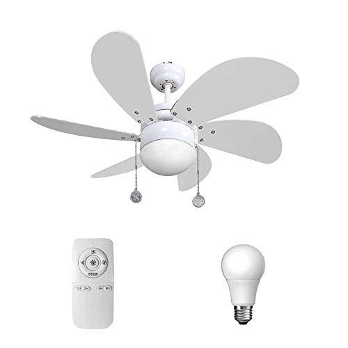 Ventilador de techo con luz y mando a distancia serie Delfín color blanco