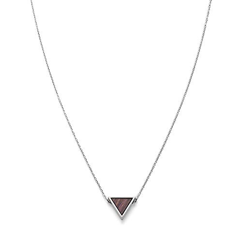 KERBHOLZ Holzschmuck – Geometrics Collection Triangle Necklace Damen Halskette mit Anhänger aus Naturholz, silber größenverstellbar (Kettelänge 38 + 5 cm)