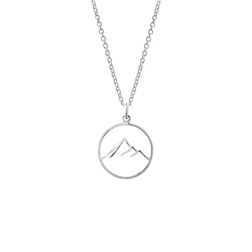 Boma Jewelry Sterling Silver Circle Mountain Pendant Necklace, 18 Inches