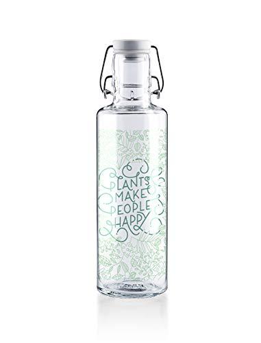 soulbottles 0,6l • Plants Make People Happy • Trinkflasche aus Glas • plastikfrei, nachhaltig vegan …