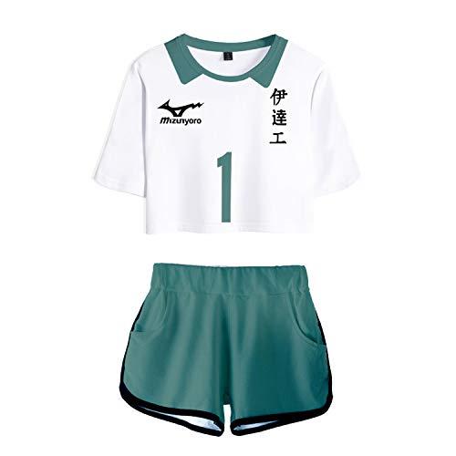 RENDONG Haikyuu T-Shirt Kurzarm Cosplay Kostüm 3D Druck Mit Shorts Cosplay Volleyball Sportwear Schuluniform 2Stk Set Cheerleading Uniform,Weiß,L