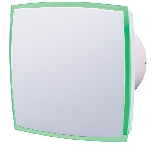 Ventilador extractor de diseño con tiras de luz LED verde, iluminación y temporizador.