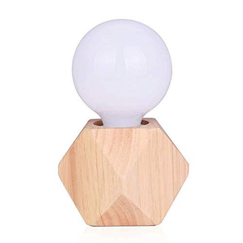 Lámpara de mesa - lámpara de madera de la vendimia Lámpara de mesa de madera antigua con alambre de interruptor Lámpara de madera sólida de madera Diamante de madera Pequeña lámpara lámpara-29635A0c6z