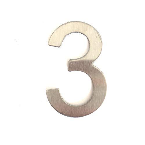 Edelstahl Hausnummer - Design Türnummer - Höhe 76mm - Aufkleber - Ziffer 3