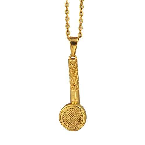 Collares Joyería de moda Auriculares Collares Pendientes para hombres Música Auriculares Collares Pendientes Acero inoxidable Color dorado