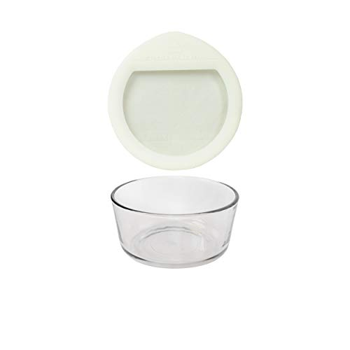Pyrex (1) 7201 4 Cup Glass Dish & (1) OV-7201 Ultimate 4 Cup Round White Glass lid