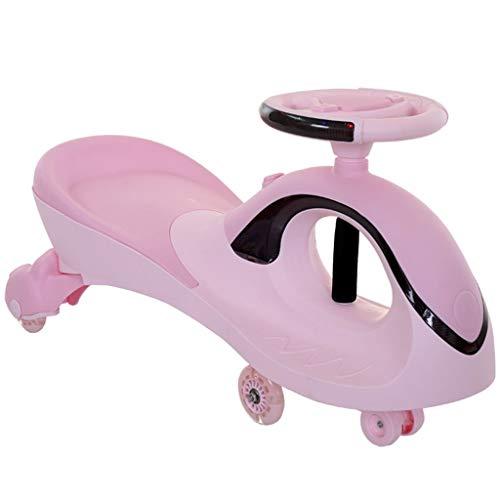 Dreirad-Drehungsauto-Schaukelauto-Babywanderer der Kinder mit Musik beleuchtet Doppelsitzlastgewicht 100kg 2-4 Jahre altes Geburtstagsgeschenk ( Color : Purple , Size : 38*81*41.5CM )