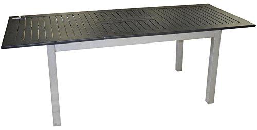 PEGANE Table Extensible en Aluminium Argent avec Plateau Noir - Dim : 75 x 150/210 x 90 cm