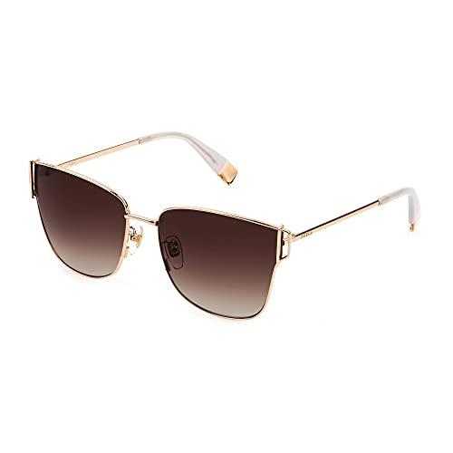 FURLA Gafas de sol SFU464 0300 58 – 16 – 135 Mujer oro rosado brillante total lentes marrón degradado