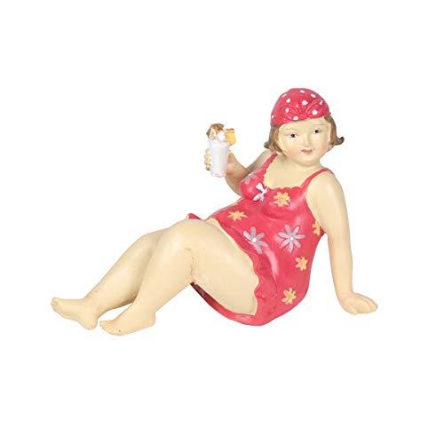 Figura Decorativa de Resina Mujer Bañista con Cóctel. Adornos y Esculturas. Decoración Hogar Marinera. Regalos Originales. 14,50 x 9 x 11 cm.
