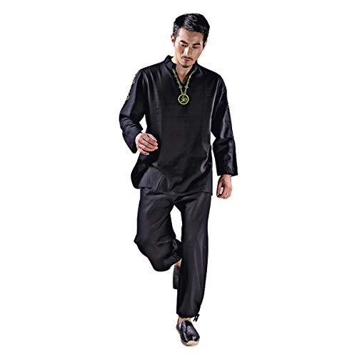 KSUA Traje de Yoga para Hombre con OM Diseño Algodón Zen Traje de meditación Ropa de Artes Marciales de Tai Chi Uniforme Mangas largas, Negro EU L/Etiqueta XL