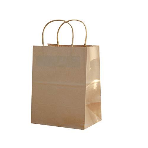 Juego de bolsas de regalo de papel kraft de Navidad, con 100 unidades, bolsas de regalo de Navidad, aulas escolares y recuerdos de fiesta (tamaño: 20 x 12,5 x 30 cm)