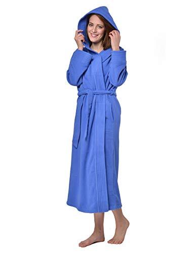 RAIKOU Damen Bademantel, Morgenmantel, Saunamantel mit Kapuze, Malibu super flauschig und weich alle Größen (40/42, Royal Blau)