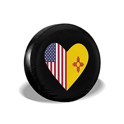 Hokdny Cubiertas para Llantas, Protector Impermeable para Llantas De Repuesto,Half New Mexico Flag Half USA Flag Love Heart Universal Fit