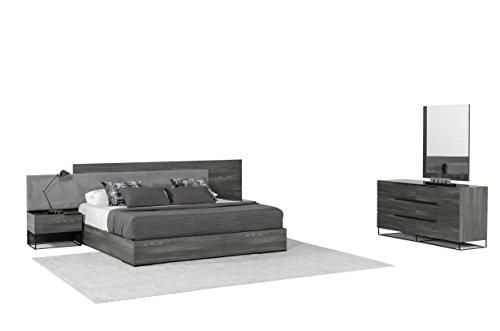 Modrest VIG Furniture Enzo Italian Modern Eastern King Bedroom Set, Grey