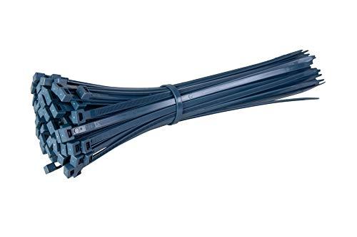 Gocableties Paquete de 100 bridas detectables de metal azul, 140 mm x 3,5 mm, cierre de nailon con contenido de metal