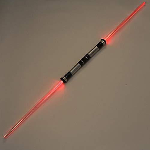 GFKD 2 Paquete Star-Wars Sabador de luz, más Reciente iluminación LED 8 Colores Dual Sabre SPICKABLE Metal Metal HANGE USB Cargando Parpadeante Láser Espada Sable de Luces Juguete para niño con Alta