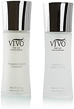 Vivo Per Lei Cleanser Toner Set | Foaming Face Cleanser & Dead Sea Toner Kit | Facial Cleanser Set for a Complete Cleansing Experience | Gentle Cleanser & Toner for All Skin Types | Delivers Promises