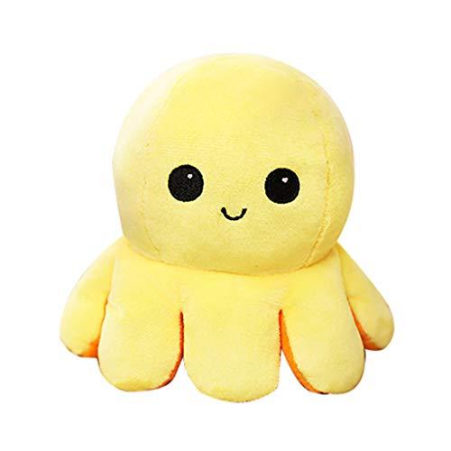 AILIEE Kleine Oktopus-plüschpuppe Puppe Beidseitig Wendbares Spielzeug Flip Tintenfisch Plüschtier Kinder Geburtstag Geschenk Weiches Stofftier 1 Stück (Orange/Gelb)