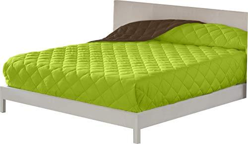 Lucena Cantos - Colcha Verano, Fibra 60 gr, Bicolor (Verde/Choco, Cama 150, 250 x 270)