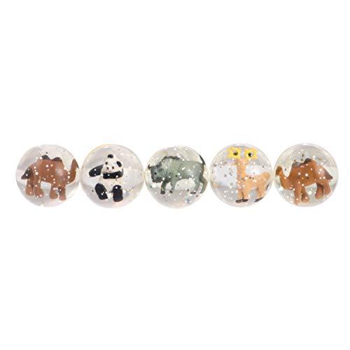 STOBOK 5 x transparente Flummis mit Wildtier-Mini-Gummi-Hüpfbällchen, tolles Geschenk für Kinderpartys, Preise und Belohnungen