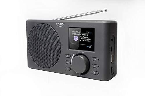 Xoro DAB 150 IR Tragbares Internet-, DAB+ und UKW Radio (Spotify, WLAN, USB, AKKU, APP Steuerung, KH, AUX Out), schwarz/grau